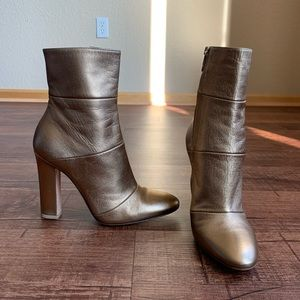 Gianvito Rossi glosy gold leather above ankle boot